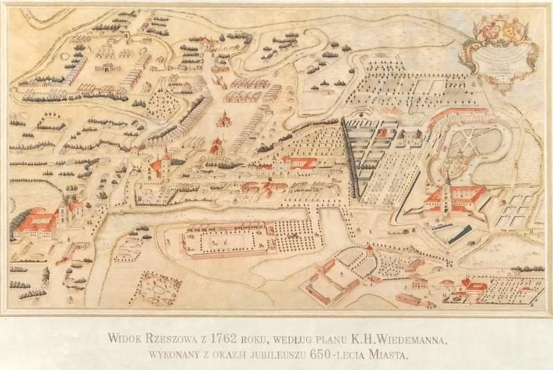 Historia Rzeszowa - Plan miasta z XVIII wieku